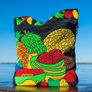 Vtg Beaded Fruit Tote Grocery Bag Satchel Purse